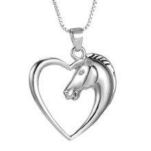 Horse Pendant In the Shape Of A Heart - Western Jewelry - I Love Horses