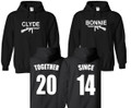 Bonnie Clyde Personalized Hoodie Set With Date On back