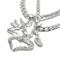 Couples Buck and Doe With Heart Necklace Set