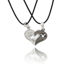 Couples his and hers split heart necklace pendant set two tone couples necklace set mozeypictures Choice Image