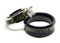 Black Camo Engagement Wedding Ring and Black Band Mens Ring Set