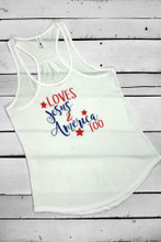Jesus and America Too Patriotic Tank Top For Ladies