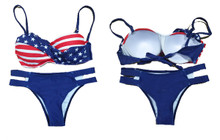 American Flag Stars and Stripes Bandeau Strappy Bikini
