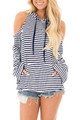 Blue and White Striped Shoulder Cut Out Fashion Hoodie