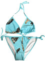 New camouflage string bikini in teal blue aqua color