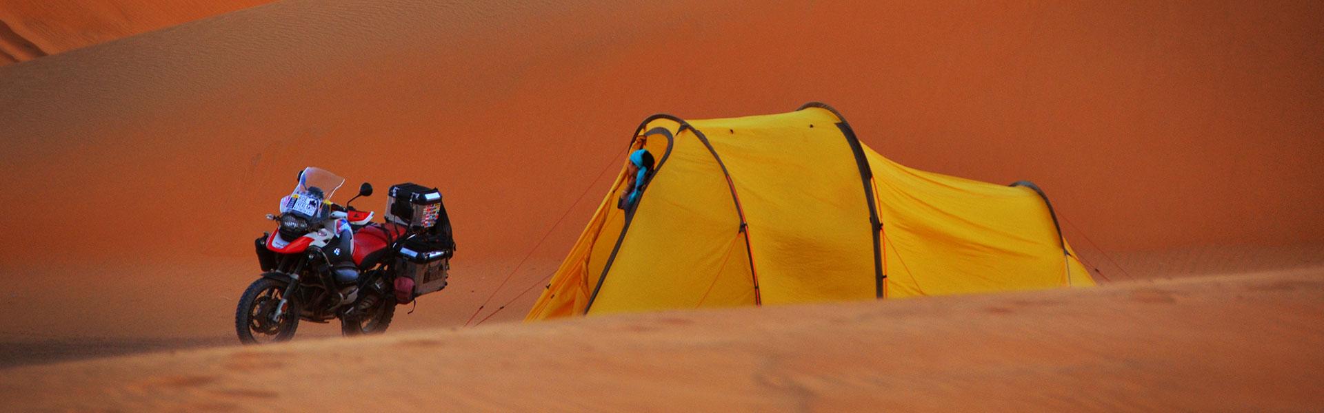 Redverz Gear Atacama Expedition Motorcycle Tent Moroccan Desert