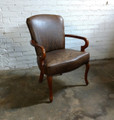 XS UPHOLSTERY FURNITURE LEATHER GOOSE NECK ARM CHAIR