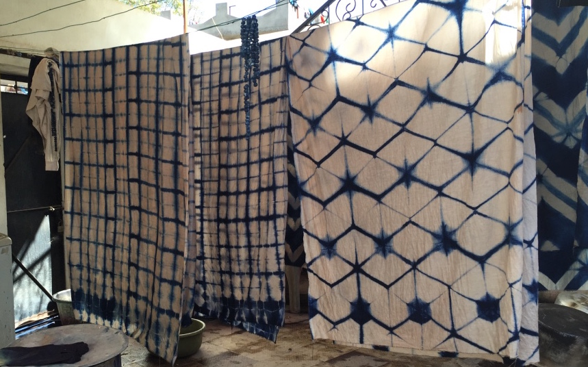 Hand dyed pieces drying in Jabbar Khatri's workshop