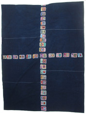 "Indigo Traditional Handwoven Embroidered Maya Figures Cotton Cloth (39"" x 198"")"