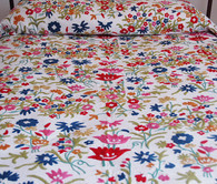 "Handwoven Cotton with Handmade Wool Crewel Colorful Embroidery Coverlet Bedspread India 3 (88"" x 104"")"