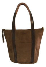 "Handmade Suede and Leather Shoulder Bag Purse Guatemala (11"" x 12"")"