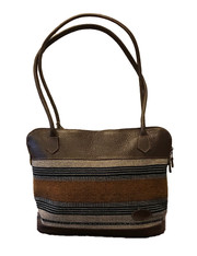 """Handmade Leather and Handwoven Natural Cotton Shoulder Bag Purse 2 (13"""" x 11"""")"""