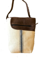 "Leather and Linen Blend Cross Shoulder Purse (8"" x 10"")"