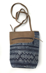"Handwoven Hemp and Suede Cross Shoulder Purse (8"" x 10"")"