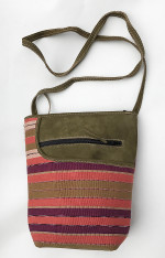 "Handwoven Striped Cotton and Suede Cross Shoulder Purse Guatemala ( 8""x 10"")"