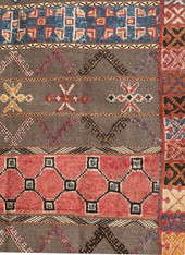 "Handwoven Glaoui Wool Flat Weave with Pile and Embroidery Vintage Tribal Berber Rug Morocco (58"" x 102"")"