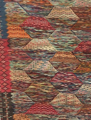 "Handwoven Ahknif Map Tapestry Wool Rug Morocco (40"" x 75"")"