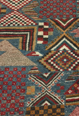 "Hand Knotted Pile Wool Map Rug Morocco (42"" x 80"")"