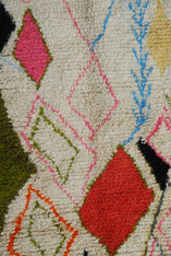 """Handwoven and Hand Knotted Azilal Tribal Vintage Berber Wool Rug Morocco ( 53"""" x 122"""")"""