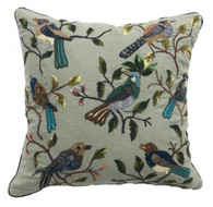 "Hand Embroidered and Hand Woven Bird Pillow Guatemala ( 17"" x 17"")"