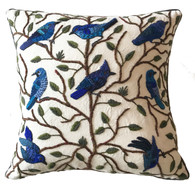 "Handwoven and Hand Embroidered Bird Pillow Blues Guatemala (17"" x 17"")"