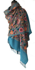 "Woolen Dense Machine Embroidered Shawl India (29"" x 77"")"