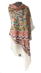 """Woolen Dense Machine Embroidered Shawl on Cream India (29"""" x 77"""")"""