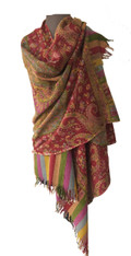 "Fine Hand Embroidered Woolen Shawl India (28""x 78"")"