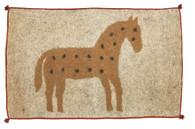 "Handmade Felt Wool Horse Rug Ochre Afghanistan (30"" x 48"")"