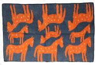 "Handmade Wool Felt Many Horse Rug Afghanistan Orange on Slate Blue (48"" x 72"")"