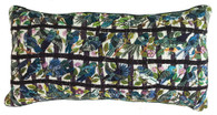 """Handwoven and Hand Embroidered Bird Pillow Blues Guatemala (11"""" x 22"""")"""
