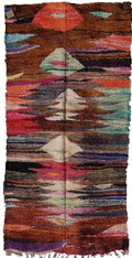 "Handwoven Flat Weave Mixed Fiber Rug Morocco ( 98"" x 51"")"