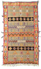 "Handwoven Wool Flat Weave with Pile Tribal Berber Rug Morocco (55"" x 99"")"