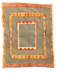 "Handwoven Wool Flat Weave with Pile Tribal Berber Rug Morocco (43"" x 55"")."