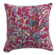 "Handmade Block Printed and Kantha Stitched Cotton Pillow India  (18"" x 18"")"