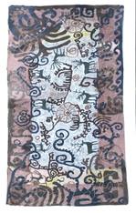 "Handmade Wool Felt Rug Embroidered Kyrgyzstan (50"" x 86"")"