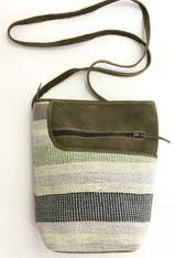 "Handwoven Natural Dyed Cotton and Suede Cross Shoulder Purse Guatemala (8""x 10"")"