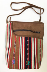 "Handwoven Traditional Maya Cotton and Suede Cross Shoulder Purse Guatemala ( 8""x 10"")"