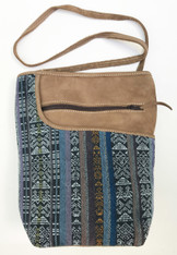 "HandwovenTraditional Cotton and Suede Cross Shoulder Purse Guatemala ( 8""x 10"")"