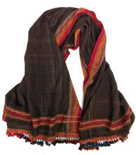 "Handwoven Woolen Natural Dyed Brown Throw India (36"" x 85"")"