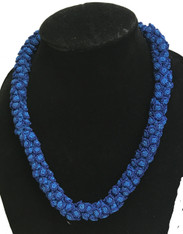 "Hand Knotted Button  Blues Bead Necklace Morocco (10"" drop)"