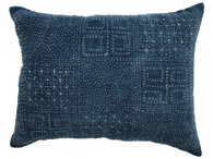"Hand embroidered Vintage Indigo Pillow China ( 17"" x 22"")"