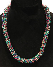 "Hand Knotted Button Bead Multicolor Necklace Morocco (10"" drop)"