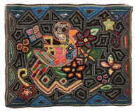"Handmade Hooked Rug  by Sheny of Recycled Clothing Guatemala   (18"" x 22"")"
