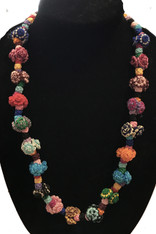 "Hand Knotted Button Bead Multicolor Necklace Morocco (12"" drop)"