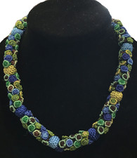 "Hand Knotted Button Bead Blue Green Necklace Morocco (9"" drop)"