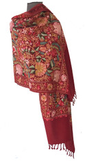 "Woolen Dense Machine Embroidered Shawl on Red India (26"" x 76"")"