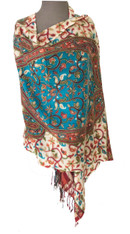 """Fine Hand Embroidered Woolen Shawl Turquoise and Natural India (28""""x 78"""")"""