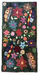 "Butterfly Handmade Hooked Rug of Recycled Clothing Guatemala (24"" x 47"")"