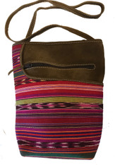 "Handwoven Traditional Cotton and Suede Cross Shoulder Purse Guatemala (8""x 10"")"